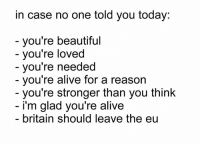 youre beautiful: in case no one told you today:  you're beautiful  you're loved  you're needed  you're alive for a reason  you're stronger than you think  i'm glad you're alive  britain should leave the eu