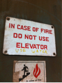 Fire, Water, and Case: IN CASE OF FIRE  DO NOT USE  ELEVATOR  VE WATER  In case of-fire