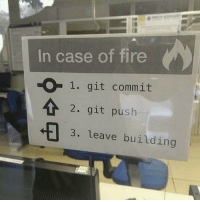 Fire, Git, and Push: In case of fire  O1. git commit  2. git push  3. leave building In case of fire