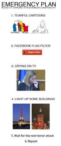 Belgium, Crying, and Facebook: IN CASE OF TERRORIST ATTACK IN MAJOR EUROPEAN CITY  1. TEARFUL CARTOONS  13 novembre...  22 mars...  2. FACEBOOK FLAG FILTER  Belgium Filter!  3. CRYING ON TV  4. LIGHT UP SOME BUILDINGS  5. Wait for the next terror attack  6. Repeat <p>Emergency</p>