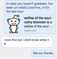 me irl: In case you haven't guessed, live  been on reddit.com/r/me irl for  the last hour  selfies of the soul  cathy brennan is a  selfies of the soul  reddit.com  i love this but i dont know what it  IS  Me too thanks me irl