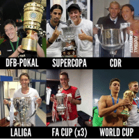 Birthday, Memes, and World Cup: in  Cepa  DFB-POKAL SUPERCOPACDR  es  LALIGA  FA CUP (x3)  WORLD CUP 🎉 Happy 29th birthday to Mesut Özil. A decent career so far. 😉