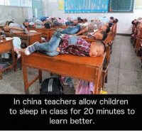 I love this idea! ❤️: In china teachers allow children  to sleep in class for 20 minutes to  learn better. I love this idea! ❤️