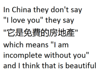 """<p>Let&rsquo;s do facebook maymays</p>: In China they don't say  """"I love you"""" they say  它是免費的房地産  which means """"I am  incomplete without you""""  and I think that is beautiful <p>Let&rsquo;s do facebook maymays</p>"""
