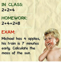 Apple, Memes, and Appl: IN CLASS:  2+2-4  HOMEWORK:  2+4+2-8  EXAM:  Michael has 4 apples  his train is 7 minutes d  early. Calculate the  mass of the sun. 😂😂😂😂😂Exactly