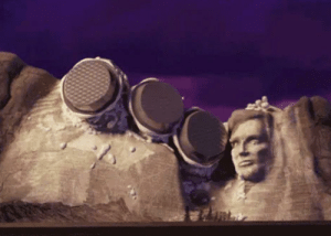 In Cloudy with a Chance of Meatballs[2009], every president on Mount Rushmore except Abe Lincoln gets pied directly to their face. Lincoln takes the pie on the back of his head which is how he got assassinated.: In Cloudy with a Chance of Meatballs[2009], every president on Mount Rushmore except Abe Lincoln gets pied directly to their face. Lincoln takes the pie on the back of his head which is how he got assassinated.