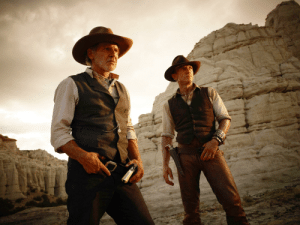 In Cowboys vs. Aliens (2011), the sex scene between Harrison Ford and Daniel Craig lasts exactly 69 minutes. You can't say this isn't true because you didn't watch this movie.: In Cowboys vs. Aliens (2011), the sex scene between Harrison Ford and Daniel Craig lasts exactly 69 minutes. You can't say this isn't true because you didn't watch this movie.