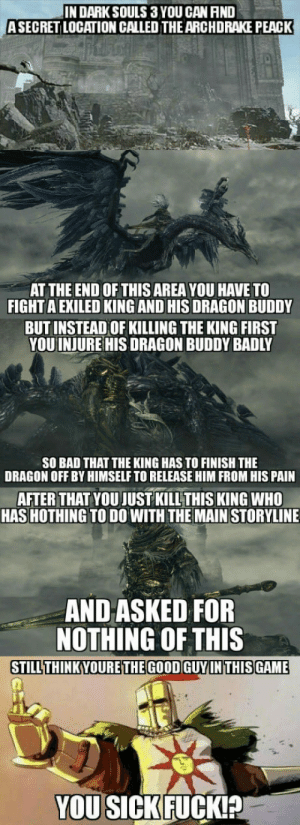 Bad, Pain, and Fight: IN DARKSOULS 3 YOU CAN AND  ASECRET LOCATION CALLED THEARCHDRAKE PEACK  AT THE END OF THIS AREA YOU HAVE TO  FIGHT A EXILED KING AND HIS DRAGON BUDDY  BUTINSTEAD OF KILLING THE KING FIRST  YOU INJURE HIS DRAGON BUDDY BADLY  SO BAD THAT THE KING HAS TO FINISH THE  DRAGON OFF BY HIMSELF TO RELEASE HIM FROM HIS PAIN  AFTER THAT YOU JUST KILLTHIS KING WHO  HAS HOTHING TO DO WITH THE MAIN STORYLINE  AND ASKED FOR  NOTHING OF THIS  STILLTHINKYOURETHEGOOD GUYINTHISGAME  YOU SICKFUCKIA Think about it