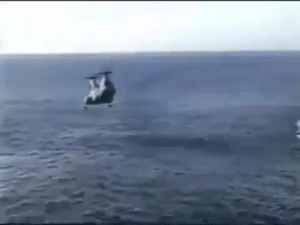 In December, 1999 a CH-46D Sea Knight helicopter attempted to land on the USNS Pecos during a training exercise and extended up entangling with the safety net which sent them crashing into the ocean. 7 of the 18 people on board were killed: In December, 1999 a CH-46D Sea Knight helicopter attempted to land on the USNS Pecos during a training exercise and extended up entangling with the safety net which sent them crashing into the ocean. 7 of the 18 people on board were killed