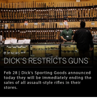 "Dicks, Guns, and Memes: in  DICK'S RESTRICTS GUNS  Feb 28 | Dick's Sporting Goods announced  today they will be immediately ending the  sales of all assault-style rifles in their  stores Dick's Sporting Goods, one of the nation's largest sports retailers, announced this morning their decision to end all sales of assault-style rifles. Dick's will also no longer sell high-capacity magazines, and will be instituting their own age requirement of 21 years old, regardless of local laws. ___ Edward Stack, chief executive of Dick's, and son of founder Dick Stack, stated that the company's new policy was a direct response to the recent Florida shooting. Stack expressed his sentiment, ""we're going to take a stand and step up and tell people our view and, hopefully, bring people along into the conversation."" ___ Mr. Stack also revealed the company examined all their records and found they had sold a gun to the Florida shooter back in November. This was not the weapon used in the Parkland School shooting, but it still provoked reflection. Mr. Stack said, ""it came to us that we could have been a part of the story. We said, 'we don't want to be a part of this any longer.'"" ____ Photo: Victor J. Blue 