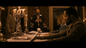 In Django Unchained (2012) Leonardo DiCaprio slams his hand down on the table and accidentally cuts his hand and still finishes the scene with the bloody hand. Quintin Tarantino was impressed that he could stay in Character and decided to keep the take in the movie.: In Django Unchained (2012) Leonardo DiCaprio slams his hand down on the table and accidentally cuts his hand and still finishes the scene with the bloody hand. Quintin Tarantino was impressed that he could stay in Character and decided to keep the take in the movie.