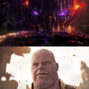 In Doctor Strange, Dormammu is shown to have a wrinkly face like that of a ballsack. In Avengers: Infinity War, Thanos is shown to exhibit a similar feature on his chin. This references the fact that the 2 are married.: In Doctor Strange, Dormammu is shown to have a wrinkly face like that of a ballsack. In Avengers: Infinity War, Thanos is shown to exhibit a similar feature on his chin. This references the fact that the 2 are married.