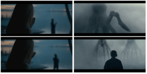 In ending scene of the movie Arrival (2016) Louise knocks on window to call for Ian, similar to aliens (heptapods) trying to communicate with Louise.: In ending scene of the movie Arrival (2016) Louise knocks on window to call for Ian, similar to aliens (heptapods) trying to communicate with Louise.