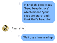 """Beep Beep Lettuce: In English, people say  beep beep lettuce  which means """"your  eyes are stars"""" and I  think that's beautiful  Ryan stfu  Wait guys I messed up"""
