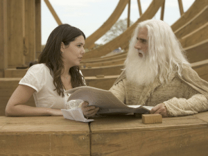 Noah, Movie, and Construction: In Evan Almighty (2007) Steve Carrell's titular character builds a modern day Noah's Ark. Similarly his wife, Joan (played my Lauren Graham), helps in the construction of the Ark. As such, this movie is also a retelling of the story of Joan of Arc.