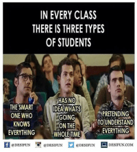 Be Like, Meme, and Memes: IN EVERY CLASS  THERE IS THREE TYPES  OF STUDENTS  HASNO  THE SMART IDEAWHATS  ONE WHO  KNOWS  EVERYTHING  GOING  ON THE  WHOLE TIME  TO UNDERSTAND  EVERYTHING  困@DESIFUN igi @DESIFUN @DESIFUN  DESIFUN.COM Twitter: BLB247 Snapchat : BELIKEBRO.COM belikebro sarcasm meme Follow @be.like.bro