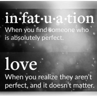 Love, Memes, and Fat: in fat u ation  When you find someone who  is absolutely perfect.  love  When you realize they aren't  perfect, and it doesn't matter. 💯