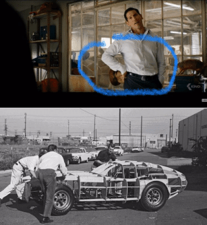 In Ford v. Ferrari (2019) you can see the Shelby Daytona Coupe being developed in Shelby's factory. You can see the wooden frame outline which is how the real car was designed.: In Ford v. Ferrari (2019) you can see the Shelby Daytona Coupe being developed in Shelby's factory. You can see the wooden frame outline which is how the real car was designed.