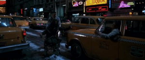 """In Forrest Gump (1994), Forrest is seen pushing Lt. Dan through a busy street when suddenly a taxi stops in front of them and Lt. Dan smacks its hood proclaiming """"I'm walking here!"""" which is a complete lie because he doesn't have legs.: In Forrest Gump (1994), Forrest is seen pushing Lt. Dan through a busy street when suddenly a taxi stops in front of them and Lt. Dan smacks its hood proclaiming """"I'm walking here!"""" which is a complete lie because he doesn't have legs."""