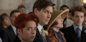 In Four Weddings And A Funeral (1994), while everyone else is watching Charles on the alter, waiting for him to answer the priest who is asking if he loves someone else, Fiona is the only character looking away. Earlier in the film she confessed her love for Charles.: In Four Weddings And A Funeral (1994), while everyone else is watching Charles on the alter, waiting for him to answer the priest who is asking if he loves someone else, Fiona is the only character looking away. Earlier in the film she confessed her love for Charles.