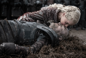 In Game of Thrones, S8E4, Ser Jorah Mormont (of the Friendzone) finally manages to get a kiss from the woman he lives only by dying. This is a reference to the fact that Jorah was a simp, right up until the end.: In Game of Thrones, S8E4, Ser Jorah Mormont (of the Friendzone) finally manages to get a kiss from the woman he lives only by dying. This is a reference to the fact that Jorah was a simp, right up until the end.