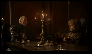 "In Game of Thrones season 1x10, Tyrion says in a conversation with Tywin that he's ""new to strategy."" This is a brilliant dialogue choice by David Benioff and D.B. Weiss because it is foreshadowing for all the way in season 8, when Tyrion is a useless strategist and useless hand of the queen.: In Game of Thrones season 1x10, Tyrion says in a conversation with Tywin that he's ""new to strategy."" This is a brilliant dialogue choice by David Benioff and D.B. Weiss because it is foreshadowing for all the way in season 8, when Tyrion is a useless strategist and useless hand of the queen."