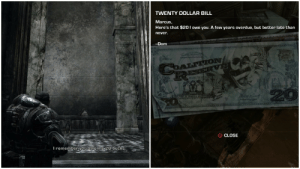 In 'Gears of War' (2006) after meeting Cole, Dom talks to Marcus about how they used to watch Cole play Thrashball, Marcus then brings up how Dom still owes him $20 for a bet they made back then. In Gears of War 3 (2011) the first collectible after the prologue is the $20 Dom owed Marcus.: In 'Gears of War' (2006) after meeting Cole, Dom talks to Marcus about how they used to watch Cole play Thrashball, Marcus then brings up how Dom still owes him $20 for a bet they made back then. In Gears of War 3 (2011) the first collectible after the prologue is the $20 Dom owed Marcus.