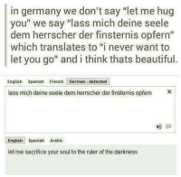 """Seel: in germany we don't say """"let me hug  you"""" we say """"lass mich deine seele  dem herrscher der finsternis opfern""""  which translates to """"i never want to  let you go"""" and i think thats beautiful.  English Spanish French German detected  lass mich deine seele dem herrscher der finsternis opfern  English  Spanish Arabic  let me sacrifice your soul to the ruler of the darkness"""