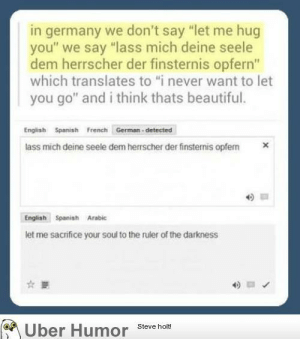 "Well, fuck.http://meme-rage.tumblr.com: in germany we don't say ""let me hug  you"" we say ""lass mich deine seele  dem herrscher der finsternis opfern""  which translates to ""i never want to let  you go"" and i think thats beautiful.  English Spanish French German - detected  lass mich deine seele dem herrscher der finsternis opfern  Engliah Spanish Arabic  let me sacrifice your soul to the ruler of the darkness  Uber Humor  Steve holt! Well, fuck.http://meme-rage.tumblr.com"