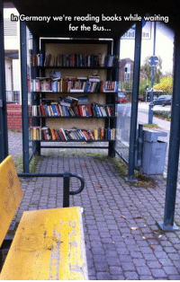 Books, Tumblr, and Blog: In Germany we're reading books while waiting  for the Bus... epicjohndoe:  Waiting For The Bus In Germany
