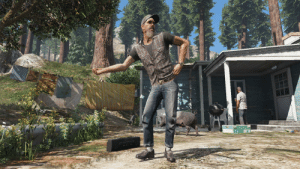 """In GTA V on the Foreclosed North Alamo Pier off North Calafia Way you can find real-life folk dancer Jesco White tap-dancing and singing along to """"If You Wanna Get To Heaven"""" by the Ozark Mountain Daredevils, which is also the opening music to the 1991 documentary """"Dancing Outlaw"""" depicting his life: In GTA V on the Foreclosed North Alamo Pier off North Calafia Way you can find real-life folk dancer Jesco White tap-dancing and singing along to """"If You Wanna Get To Heaven"""" by the Ozark Mountain Daredevils, which is also the opening music to the 1991 documentary """"Dancing Outlaw"""" depicting his life"""