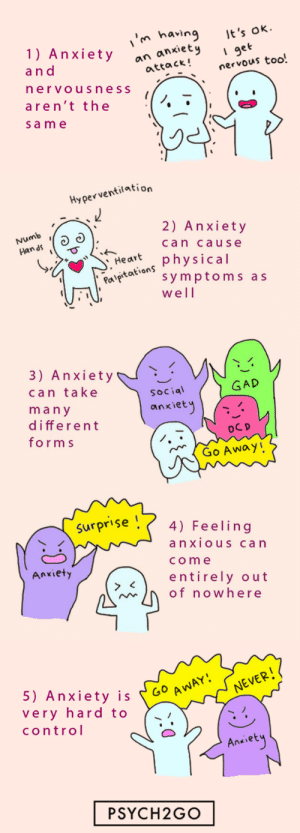 anxietyproblem: @psych2go Follow us @anxietyproblem : in having t's  1) Anxietyock!nervous too.  ok  I get  a n d  an anxiet  attack!  ervousness  aren't the  sam e   Hyperventilation  Numb  n as  2) Anxiety  can cause  Har physical  Pal  aeaion symptoms as  well   3) Anxiety  can take  ma n y  different  form s  GAD  Social  anxiet  Go Away!   Surpr'se 4) Feeling  anxiouS can  come  entirely out  Anxiety  of nowhere   5) Anxiety is 60  very hard to  control  Go A  NEVER  Ankiet  PSYCH2GO anxietyproblem: @psych2go Follow us @anxietyproblem