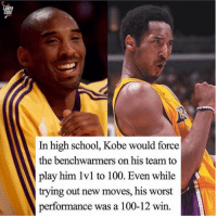 Anaconda, School, and Kobe: In high school, Kobe would force  the benchwarmers on his team to  play him 1vl to 100. Even while  trying out new moves, his worst  performance was a 100-12 win 🐍🐍🐍
