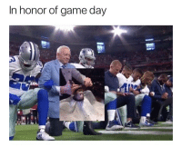 Respect, Game, and Trendy: In honor of game day Kneeling is a sign of respect in many different aspects y'all trippen trippen