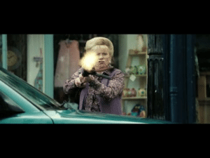 In Hot Fuzz(2007) during the shootout the lady(innkeep) shoots ACROSS the street and then Angel shoots a potted plant DOWN on her. Mirroring their earlier conversation: In Hot Fuzz(2007) during the shootout the lady(innkeep) shoots ACROSS the street and then Angel shoots a potted plant DOWN on her. Mirroring their earlier conversation