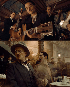 Django, Chase, and History: In Hugo (2011) Django Reinhardt (top), James Joyce (left), and Salvador Dalí (right), make cameos in the chase scene through the restaurant. In history all three were in Paris at the time the film is set (1931)