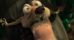 In Ice Age: Dawn of the Dinosaurs (2009), whan Scratte (the female squirrel) rips the acorn off Scrat's chest, his skin goes from a pinkish skin colour to red as blood moves to the area where his hairs were ripped out as the skin heats up: In Ice Age: Dawn of the Dinosaurs (2009), whan Scratte (the female squirrel) rips the acorn off Scrat's chest, his skin goes from a pinkish skin colour to red as blood moves to the area where his hairs were ripped out as the skin heats up
