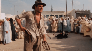"In Indiana Jones: Raiders Of The Lost Ark (1981) During the iconic ""Dont Bring a knife to a gunfight"" scene, Harrison Ford was actually supposed to fight the dude with the sword. But due to Ford having food poisoning on the day of shooting, the scene was changed.: In Indiana Jones: Raiders Of The Lost Ark (1981) During the iconic ""Dont Bring a knife to a gunfight"" scene, Harrison Ford was actually supposed to fight the dude with the sword. But due to Ford having food poisoning on the day of shooting, the scene was changed."