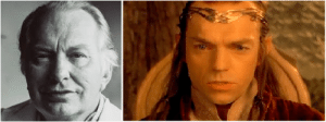 In J.R.R. Tolkien's Lord of the Rings, the creation of fictional character Elrond (right) was strictly inspired by Scientology founder L. Ron (left). This is evident not only by the similarity in name, but also by the author's non-negotiable request to cast an actor that resembled the Scientologist.: In J.R.R. Tolkien's Lord of the Rings, the creation of fictional character Elrond (right) was strictly inspired by Scientology founder L. Ron (left). This is evident not only by the similarity in name, but also by the author's non-negotiable request to cast an actor that resembled the Scientologist.