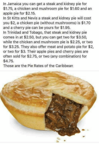 Apple, Memes, and Chicken: In Jamaica you can get a steak and kidney pie for  $1.75, a chicken and mushroom pie for $1.60 and an  apple pie for $2.15.  In St Kitts and Nevis a steak and kidney pie will cost  you $2, a chicken pie (without mushrooms) is $1.70  and a cherry pie can be yours for $1.95.  In Trinidad and Tobago, that steak and kidney pie  comes in at $2.50, but you can get two for $3.50,  while the chicken and mushroom pie is $2.25, or two  for $3.25. They also offer meat and potato pie for $2,  or two for $3. Their apple pies and cherry pies are  often sold for $2.75, or two (any combination) for  $4.75.  Those are the Pie Rates of the Caribbean