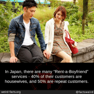 "Facts, Memes, and Weird: In Japan, there are many ""Rent-a-Boyfriend""  services-40% of their customers are  housewives, and 50% are repeat customers  weird-facts.org  @factsweird"
