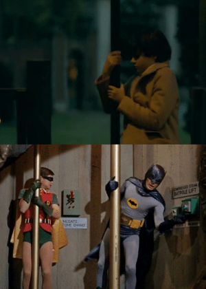 In Joker (2019), Bruce Wayne is introduced with a shot of him sliding down a pole. This is a homage to the 1996 Batman TV show starring Adam West, where Batman slides down a pole to get to the Batcave.: In Joker (2019), Bruce Wayne is introduced with a shot of him sliding down a pole. This is a homage to the 1996 Batman TV show starring Adam West, where Batman slides down a pole to get to the Batcave.