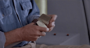 In Jurassic Park (1993) Dr. Grant has to tie himself in with his seat belt when they land. That's because there's only two female buckles, and no male buckles. Much like the female dinos on the island, he, uh, finds a way.: In Jurassic Park (1993) Dr. Grant has to tie himself in with his seat belt when they land. That's because there's only two female buckles, and no male buckles. Much like the female dinos on the island, he, uh, finds a way.