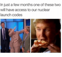 Memes, Access, and Luck: In just a few months one of these two  will have access to our nuclear  launch codes Good luck America. (@sadmichaeljordan)
