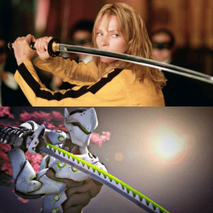 In Kill Bill, The Bride (Uma Thurman) gets a katana from a swordsman named Hattori Hanzo. That is a reference to Overwatch's Hanzo, who has a brother named Genji that uses a katana as well.: In Kill Bill, The Bride (Uma Thurman) gets a katana from a swordsman named Hattori Hanzo. That is a reference to Overwatch's Hanzo, who has a brother named Genji that uses a katana as well.