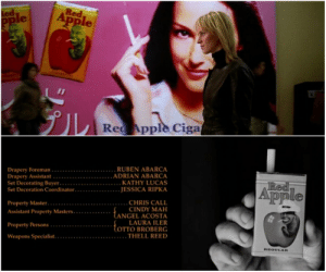 In Kill Bill Vol 1 (2003), when The Bride is walking through the Tokyo airport, an ad–board for 'Red Apple Cigarettes' can be seen. This is the same cigarette brand for which Rick Dalton does an ad in the mid–credits scene of Once Upon A Time In Hollywood (2019).: In Kill Bill Vol 1 (2003), when The Bride is walking through the Tokyo airport, an ad–board for 'Red Apple Cigarettes' can be seen. This is the same cigarette brand for which Rick Dalton does an ad in the mid–credits scene of Once Upon A Time In Hollywood (2019).