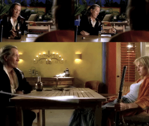 Sword, Kill Bill, and Table: In Kill Bill, while conversing with Beatrix, Bill first places his bottle of liquor in front of him, then immediately relocates it farther to his left. This is because he was planning an attack where he sweeps the table with his sword and didn't want the bottle to be in the way.