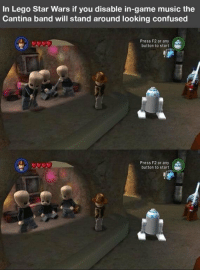 Confused, Lego, and Love: In Lego Star Wars if you disable in-game music the  Cantina band will stand around looking confused  Press F2 or any  button to start  Press F2 or any (  button to start Just makes me love the game even more... https://t.co/bOQZZn4YmP