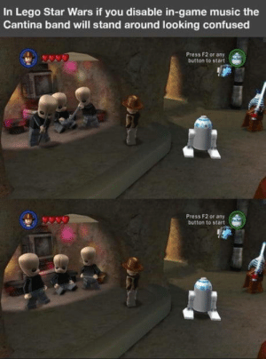 Confused, Lego, and Music: In Lego Star Wars if you disable in-game music the  Cantina band will stand around looking confused  Press F2 or any  button to start  Press F2 or any  button to start Attention to detail