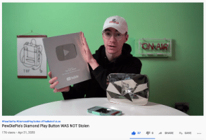 In light of a recent post made here, Elliot from TheRetroFuture2 (Current Owner of the Play Button) has made a video explaining the situation. Felix has been contacted and would not like the play button back, however is free to contact Elliot for it to be sent back at no cost.: In light of a recent post made here, Elliot from TheRetroFuture2 (Current Owner of the Play Button) has made a video explaining the situation. Felix has been contacted and would not like the play button back, however is free to contact Elliot for it to be sent back at no cost.